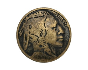 6 Indian Head 5/8 inch ( 15 mm ) Metal Buttons Antique Brass Color