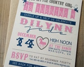 Birthday Invitation - Horse Party - RUSTIC - Pink - Navy Blue - Cowgirl - Country Girl - Heart - Recycled - Eco - DIGITAL Printable DIY