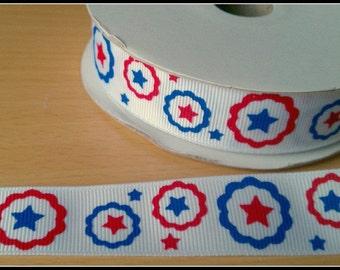 "7/8"" Red White Blue Patriotic circle Flower Star grosgrain ribbon 5 yards"