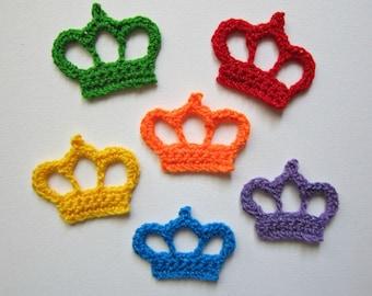 "1pc 3"" Crochet Bright Tones CROWN Applique"