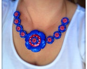 Blue and red,  polka dot, flower button, statement necklace