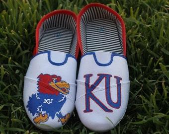 KU Jayhawks Hand Painted Shoes