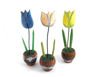 Colorful Ceramic Flowers,  blue, white, yellow tulips,  Ceramic Home Decoration, Handmade ceramic flowers, Housewares gift