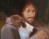 Safe in His Everlasting Arms. Jesus with brown and white dog.