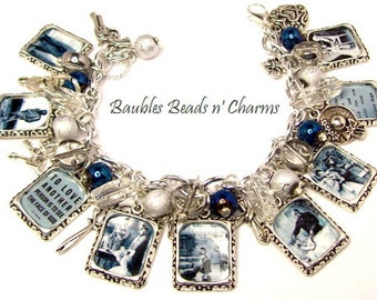 Les Miserables 2 in Blue Charm Bracelet Jewelry, Book Quotes, Literary Charm Bracelet, Book Inspired Charm Bracelet