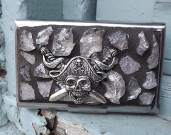 Business Card Holder, Pirate Business Card Holder, Mosaic Business Card Holder, Tumbled Glass Card Holder, Pirate Treasure, Business Cards