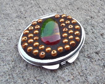 Oval Double Sided Mirror Compact, Mosaic Oval Fused Glass Mirror, Make Up Compact Mirror, Glass Mirror, Purse Mirror, Christmas Gift