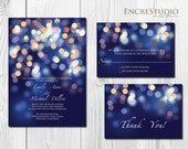 RESERVED for Jamie & Emily -Printable Gold and Blue Bokeh Wedding Invitation - Night Lights