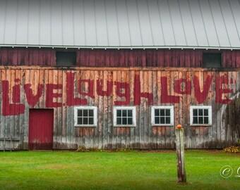 The Red Vermont Barn -  Nature photography, landscape, rustic home decor, Valentine, Love, fine art, barn, Vermont, farm, new england