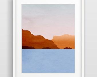 Beach Decor, Ocean Art Print, Scandinavian Print, Abstract Seascape Art, Ocean Decor, Sunset Art, Sea Art, Blue and Orange