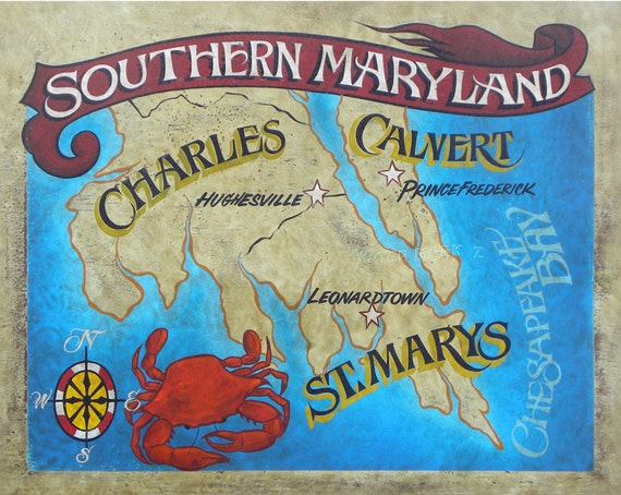 vintage style southern maryland map print poster size 16 by