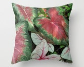 Red, green and white heart shaped Caladium leaves photo throw pillow cover