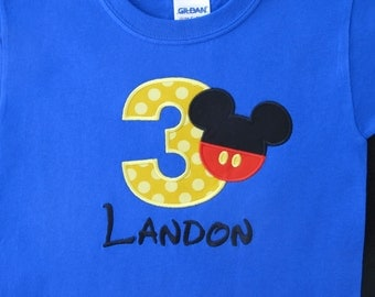 MICKEY PANTS BIRTHDAY Personalized Shirt Mickey Mouse Pants Name Number Shirt Tshirt - Infant - Toddler - Clothing 908