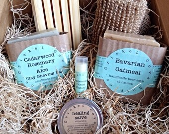 MEN'S SOAP SET -  Beer Soap Basket - Handmade Soap Gift Basket - gift box - beer soap - Father's Day