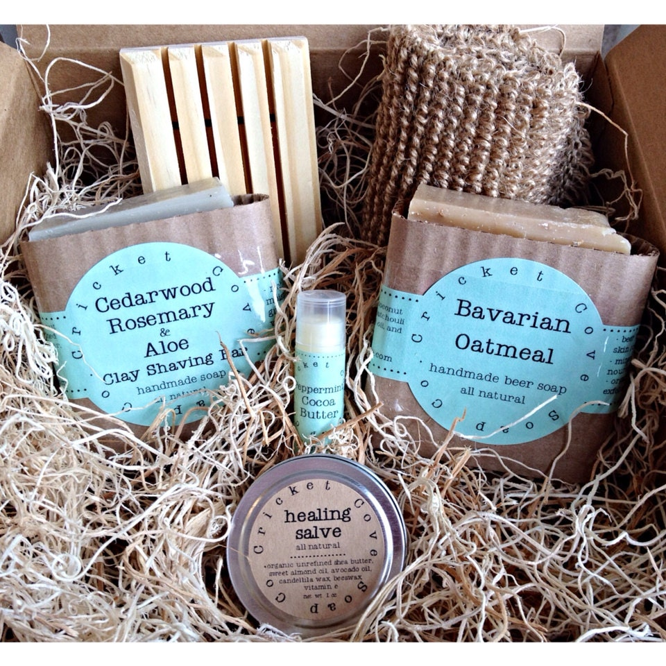 Handmade Soap Baskets : Men s soap set beer basket handmade gift