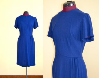 1960s Vintage George Small Blue Day Dress size M bust 36