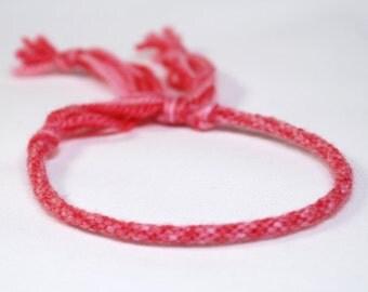 Pink Kumihimo Bracelet Womens or Girls Merino Fiber Soft Pink & Rose Jewelry