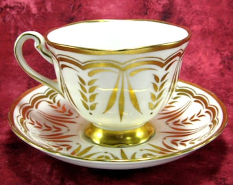 Royal Chelsea Lush Gold All hand Painted Cup And Saucer English Bone China 1943-1951 Gorgeous