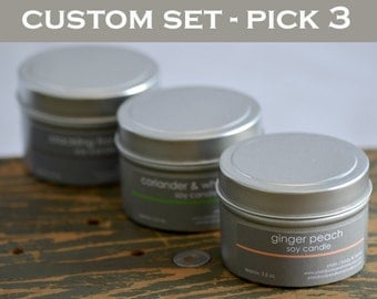 Soy Candle Tin Set - Create your own (pick 3) - 4 oz. tins - fresh scent candles - fruit scent candle - unisex scent candle