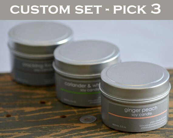Candle Set - Soy Candles - Pick any 3 scents - 4 oz. tins - fresh scent candles - food scent candle - unisex scent candles - candle gifts