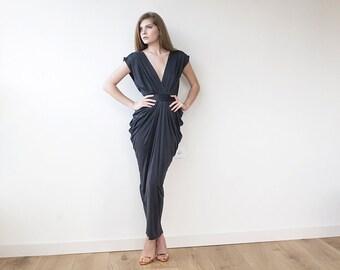 Dark Gray maxi formal dress , Maxi short sleeves grey gown