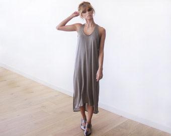Maxi length cut-away taupe dress, Maxi summer dress 1032