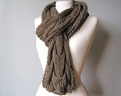 Chunky cable knit scarf unisex brown autumn scarf men winter gift - woolpleasure
