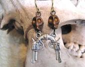 Pistol Charm, Gun Jewelry, Niobium Earrings, Skull Earrings