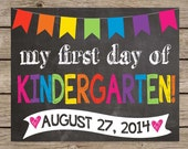 First Day Of School Chalkboard Sign -  My First Day Back To School PRINTABLE First Day Of School Chalkboard Poster School Picture Photo Prop
