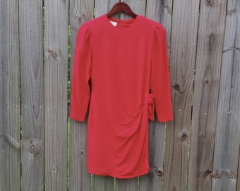 XS S Vintage 80s Red 100% Silk Long Sleeve PS Illustrations Back Zipper Extra Small Fully Lined Dress with bow and Shoulder Pads