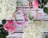 Solid color Nursing necklace SOFT PINK crochet teething beads