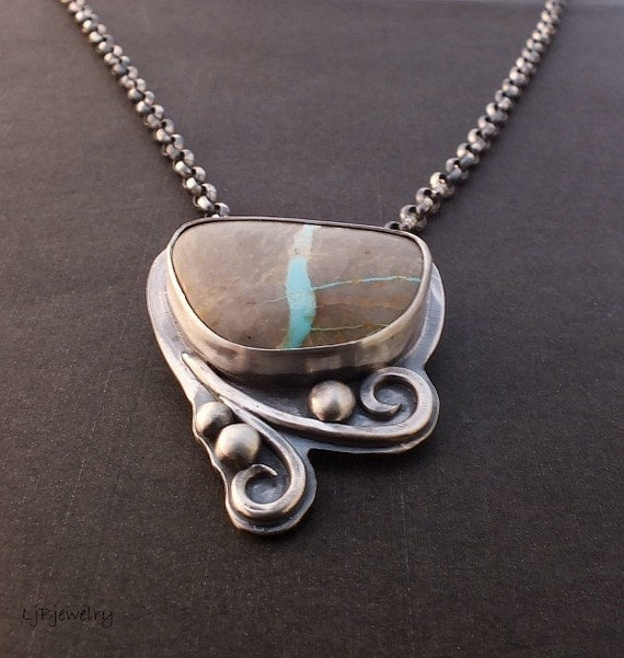 Turquoise jewelry silver necklace turquoise necklace for Royston ribbon turquoise jewelry