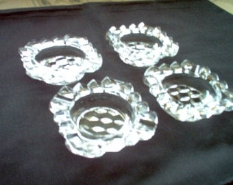 Vintage Set of 4 American Fostoria Square Crystal Ash Trays