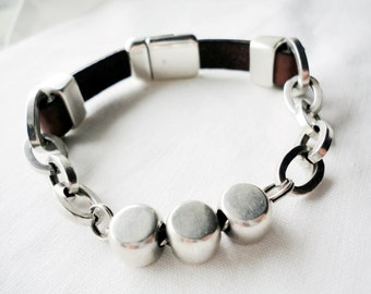 Mens Leather bracelet. silver plated chain, leather bracelet for mens.