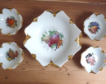 Vintage French FRUITY DESSERT SET, 1 Big Bowl with 8 Small Bowls, Art Porcelain with Gilded Edges.