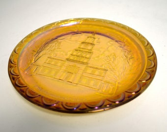 Gold Carnival Glass Plate - Vintage Commemorative Plate - American Bicentennial 1776-1976 - Collectors Edition Indiana Glass C