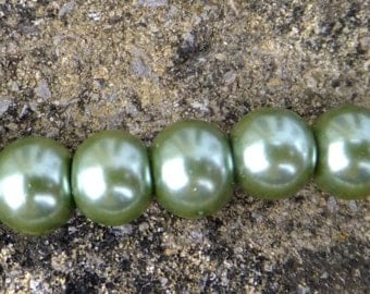Green Glass pearls, 6mm glass pearls, pearls, Jewellery making, craft supplies,