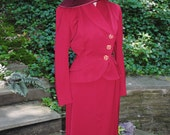 40's Suit with Asymetrical Closure Magenta Color WWII Movie  Medium