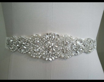 Pearl and rhinestone bridal belt sash