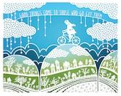 8x10 Print - Good Things - Original Papercut Illustration - Bicycle - Inspirational Quote