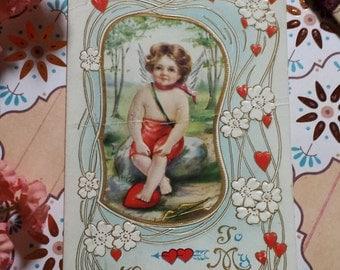 Victorian Valentine's Cupid Cherub Child Post Card