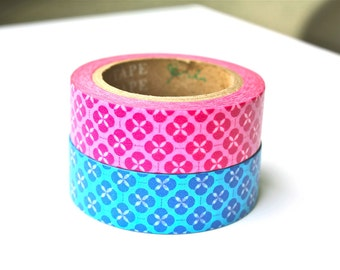 Washi Tape - Quatrefoil Washi Tape - Pink Blue Flower Washi Tape - Washi Tape Set - 10 Meters