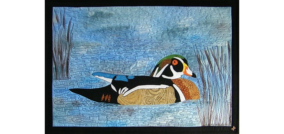 Wood Duck Art Quilted Wall Hanging, Home Decor