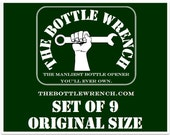 SET OF 9 - The Bottle Wrench Bottle Opener - Original - Your Choice of Cord Colors