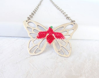Butterfly Necklace, Silver Necklace, Embroidered Necklace, Gift For Mothers, Best Friend Birthday