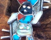 Zuni Inlay of Apache Crown Dancer: History in Sterling Size 5