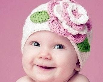 Baby Flower Hat- Crocheted Handmade