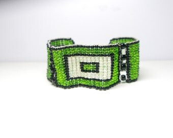 sale Green,black,white vintage   Bracelet  - geometric jewelry - For Her Under 30