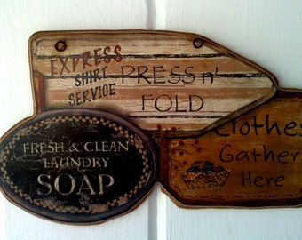 Laundry Room , Laundry Soap , Clothes Washed Daily , Sign ,  Primitive Plaque, Picture ,  Made in USA