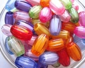 Oval Beads, 10 pcs, 19.5mm Mixed Lot Faceted Translucent Bead, Bead in Bead, Acrylic Bead, Plastic Bead, Necklace Bead